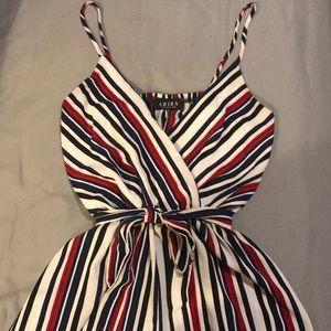 Akira wrap front striped jumpsuit